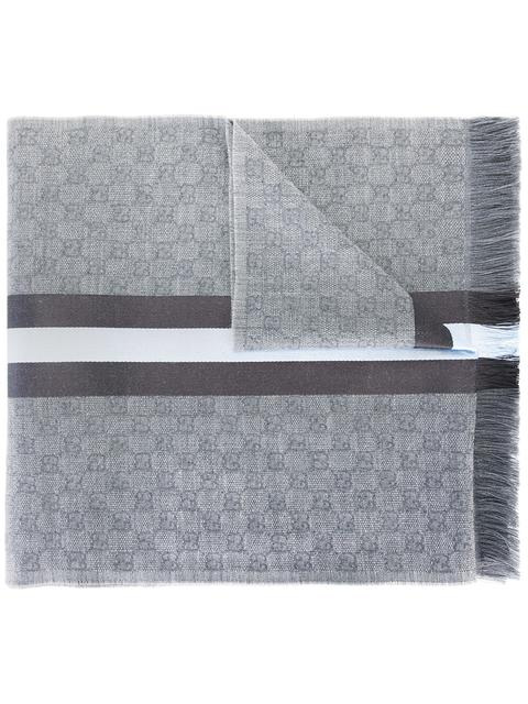 Gg Jacquard Knit Scarf With Web And Fringe, Grey