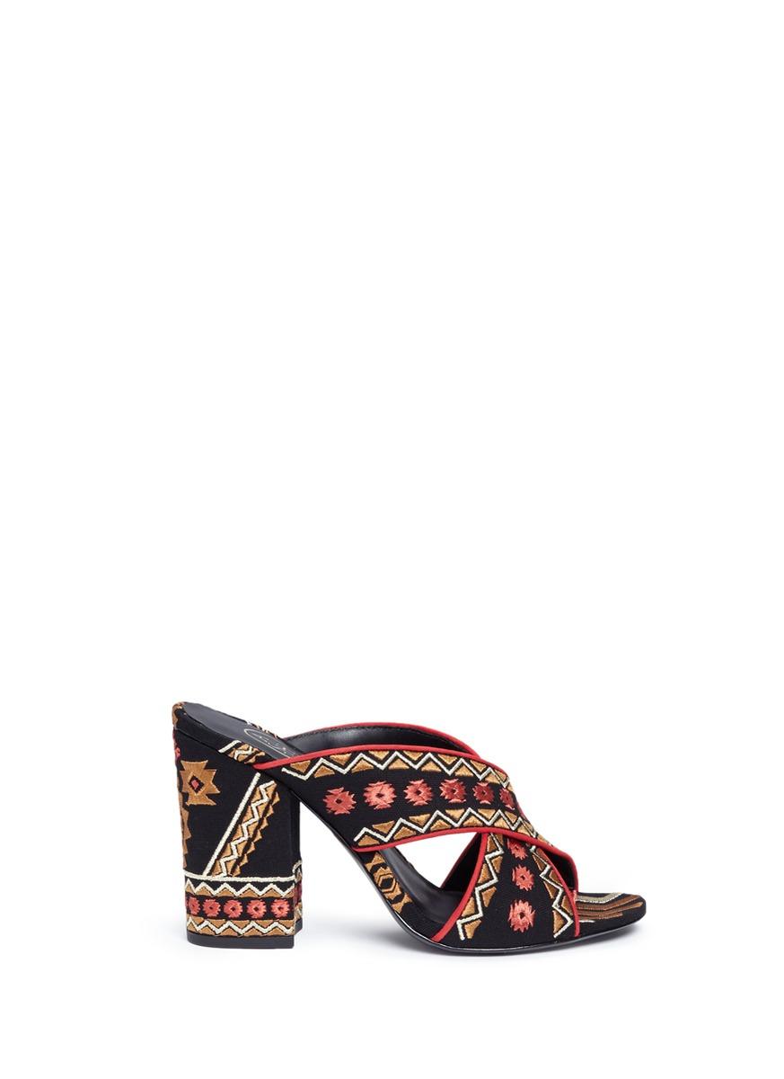 Adel Embroidered Crisscross High Heel Slide Sandals, Black/Coral