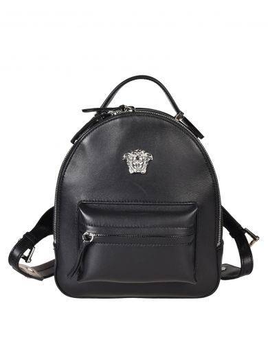 VERSACE Palazzo Black Leather Medusa Backpack in Nero