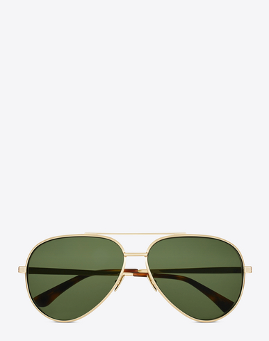 Classic 11 Zero 60Mm Aviator Sunglasses - Gold/ Green