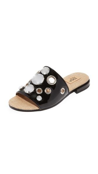 Embellished Patent-Leather Slides in Black