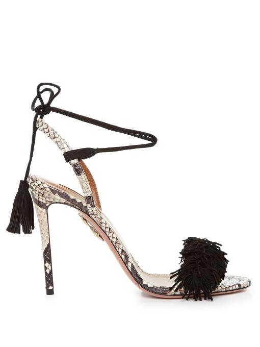 Wild Thing Snakeskin Fringed Sandals, Multi