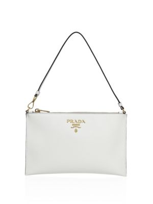 Prada Saffiano Leather Shoulder Bag In Bianco  b8a9babc59fa6