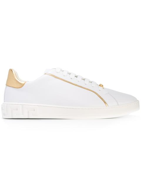 Grecco Signature Accented Leather Low-Top Sneakers in White
