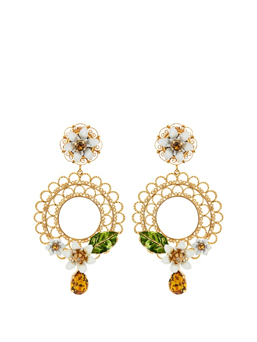 DOLCE & GABBANA Gold-Tone, Swarovski Crystal And Enamel Clip Earrings in Colour: Gold