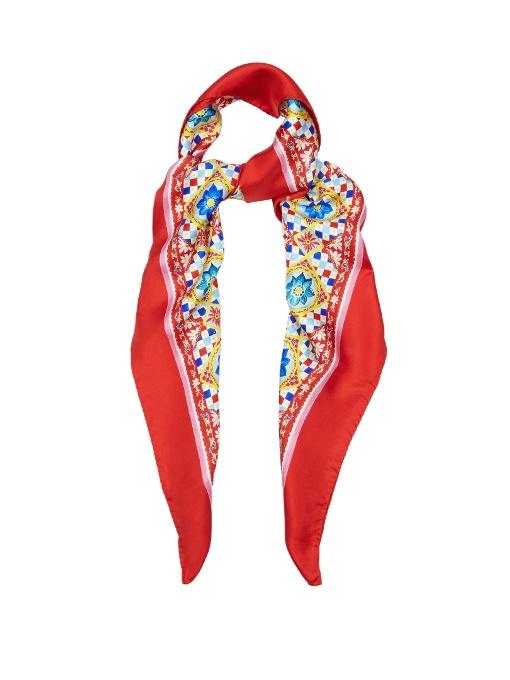 Foulard En Soie Imprimée Dolce & Gabbana 9AMM0v