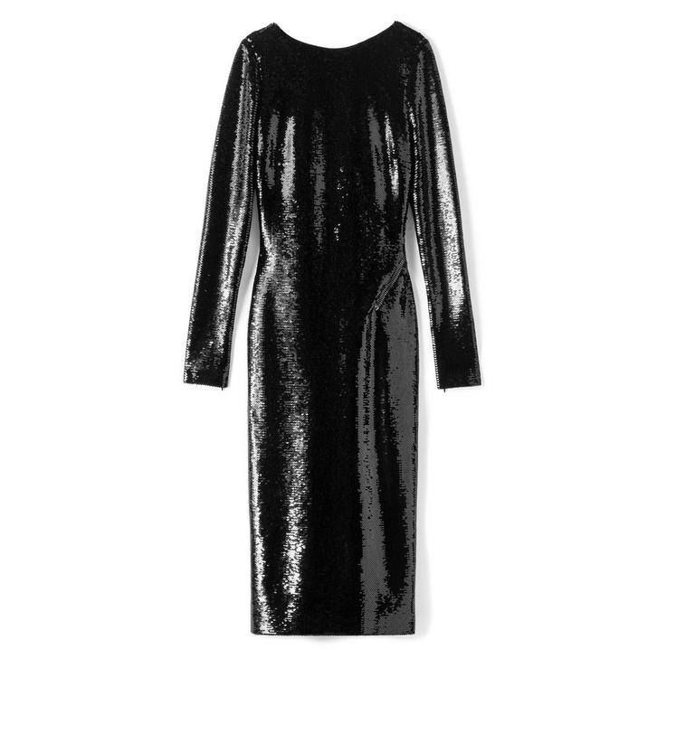 Sequined Zip-Trim Scoop-Back Long-Sleeve Dress in Black from TOM FORD