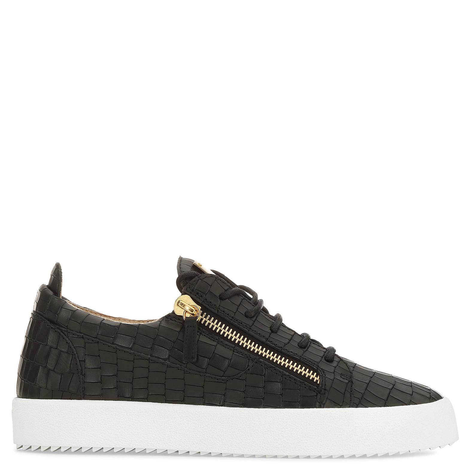 Giuseppe Zanotti Mens Croc-Embossed Low-Top Sneakers, Black