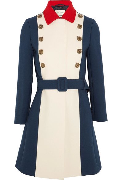 Tiger-Embellished Tri-Colour Wool Coat, Royal Blue
