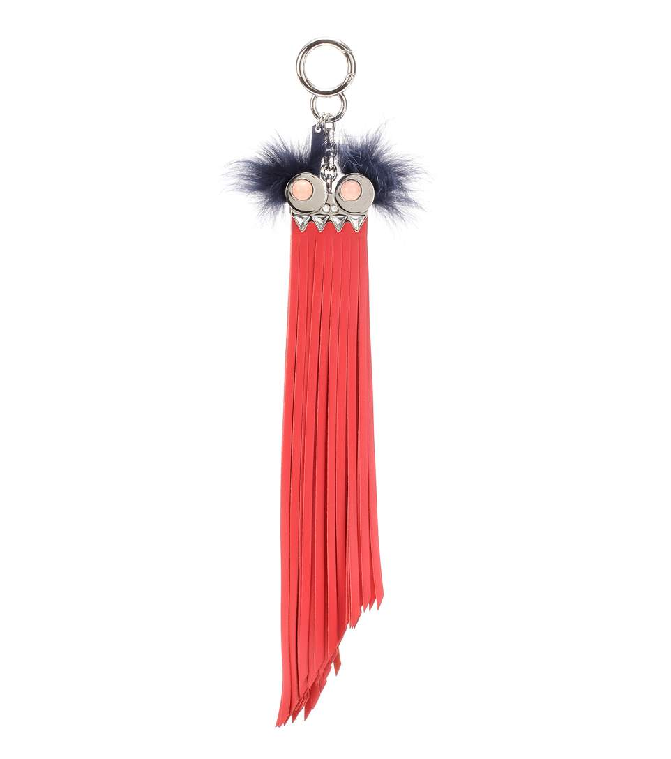 Leather Fur-Trimmed Bag Charm, Red