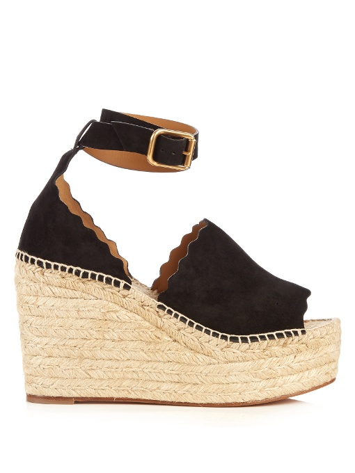 Lauren Suede Ankle-Strap Espadrille Wedge Sandals, Black