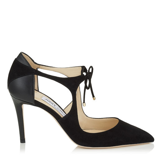 Vanessa 85 Black Suede And Nappa Leather Pointy Toe Pumps, Black/Black