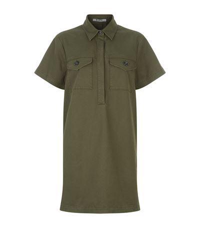 High-Low Hem Cotton Twill Utility Dress in Fatigue