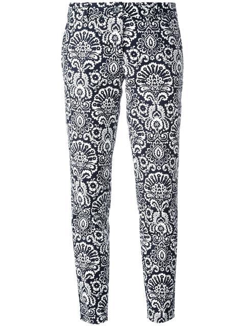Michael Michael Kors Arabesque Print Cropped Trousers - Blue