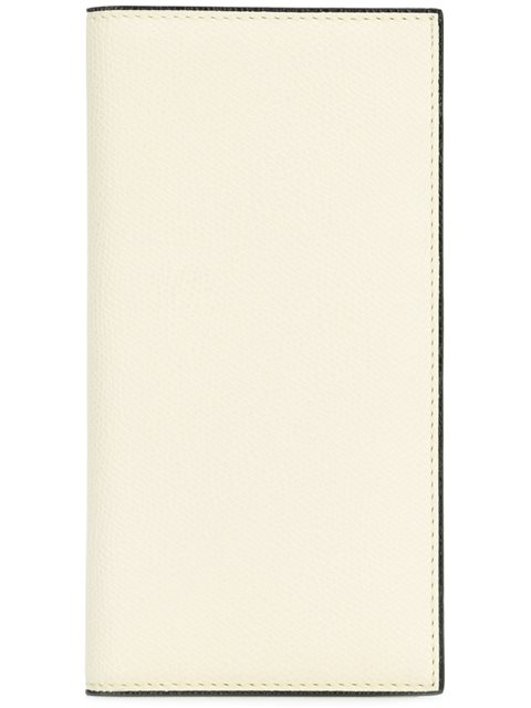 VALEXTRA Vertical Grained-Leather Wallet in White