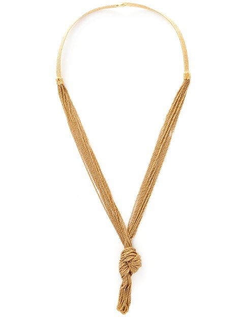 Miki Knotted Long Necklace in Metallic