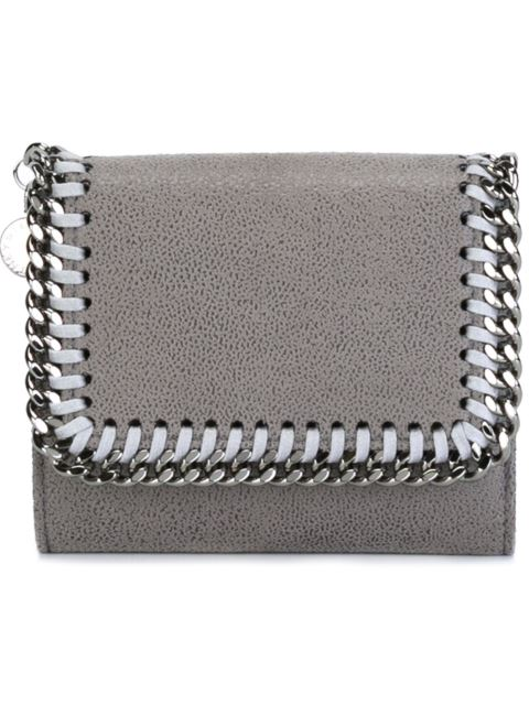 Small Falabella Shaggy Deer Flap Wallet in Grey