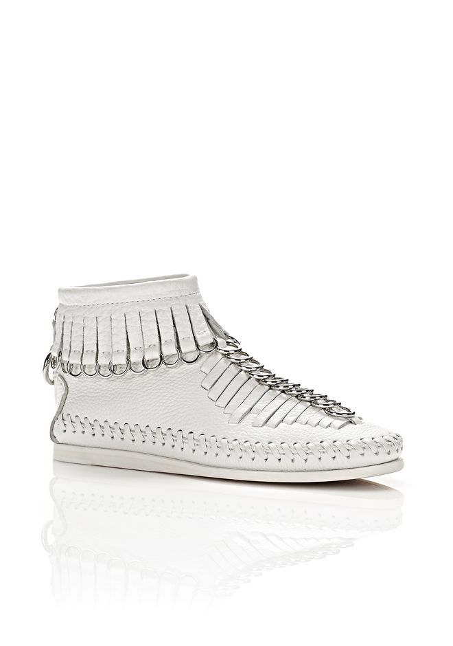 Fringed Embellished Textured-Leather Ankle Boots, White
