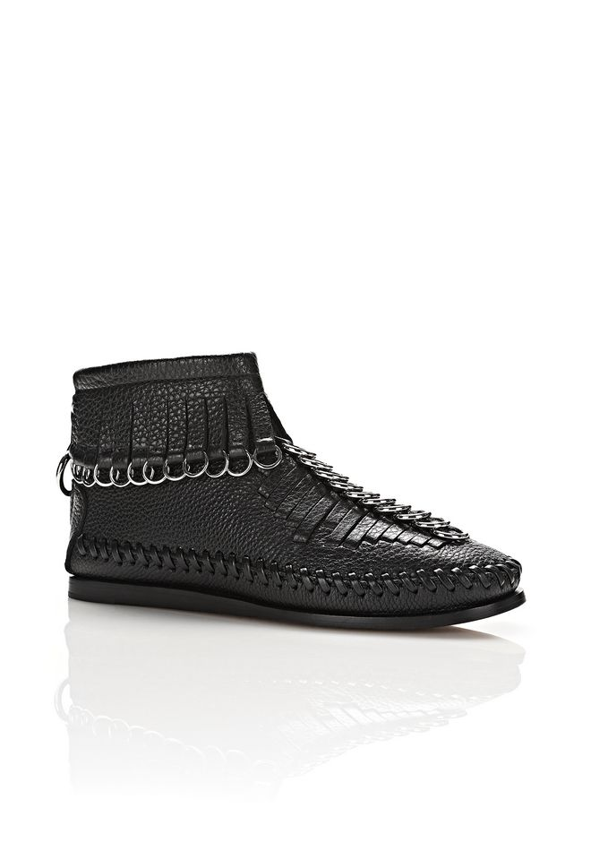 Montana Embellished Fringed Textured-Leather Ankle Boots, Black