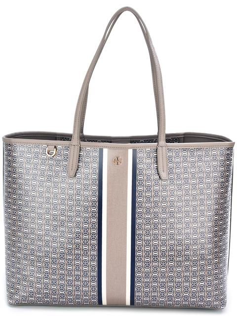 Gemini Link Coated Canvas Tote - Metallic, French Grey Gemini Link Stripe