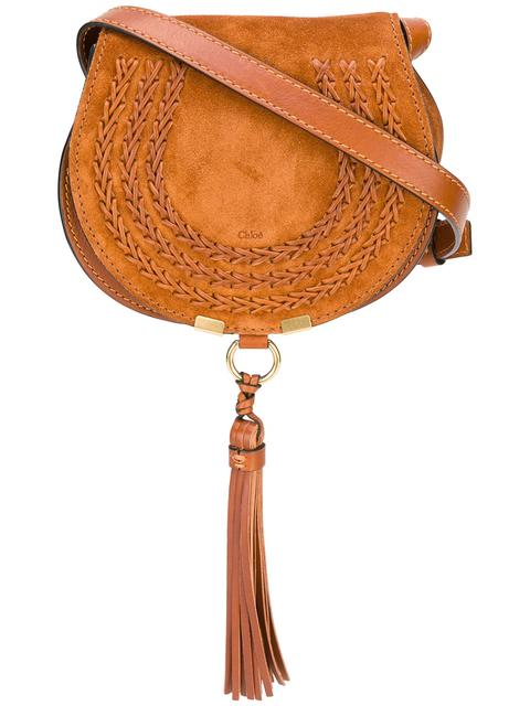 Marcie Mini Whipstitched Suede And Textured-Leather Shoulder Bag in Brown