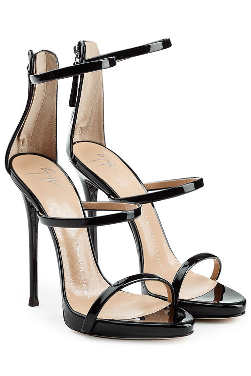 Patent Leather Stiletto Sandals in Black