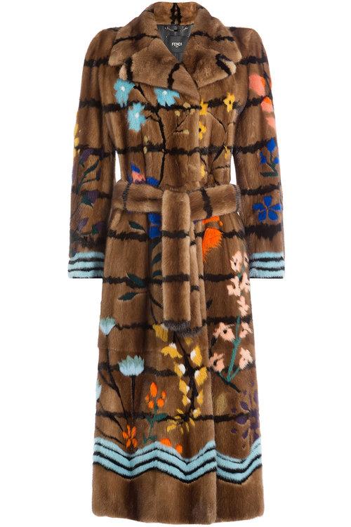 FENDI Floral Intarsia Mink Fur Coat, Brown/Multi in Brown Multi