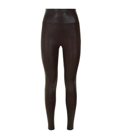 SPANX Women'S Plus Faux-Leather Tummy Control Leggings in Blue