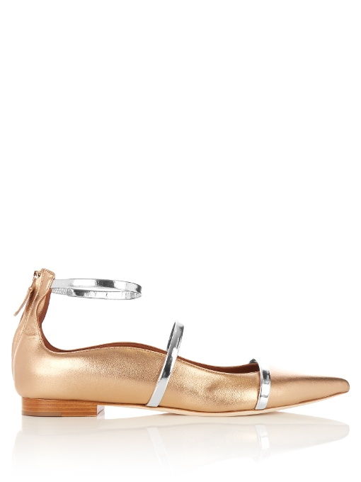MALONE SOULIERS Designer Shoes, Robyn Flat Metallic Nappa Leather Ballerinas