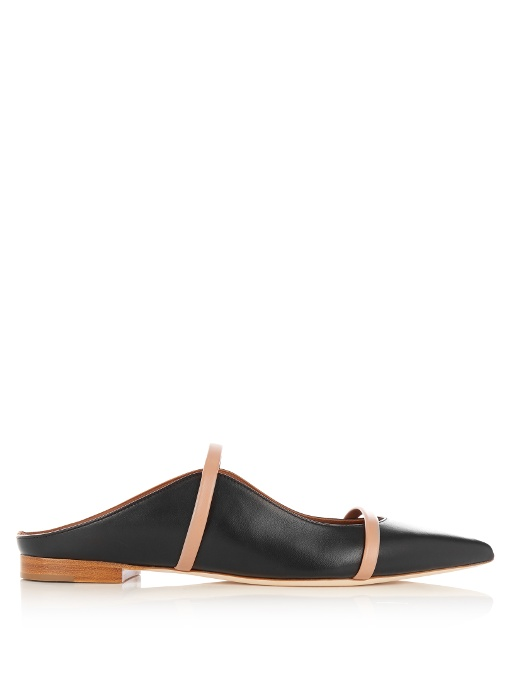MALONE SOULIERS Maureen Leather-Trimmed Suede Flats