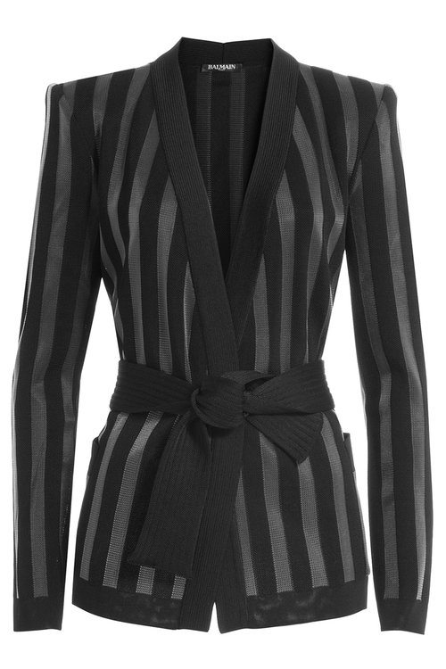 BALMAIN Striped Knit Cardigan