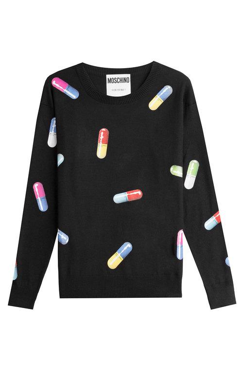 Capsule-Print Wool Sweatshirt in Black