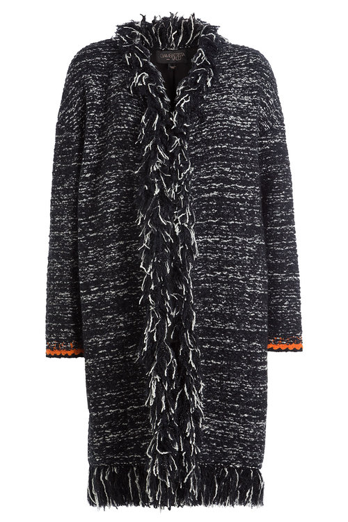 Fringed Cardigan With Mohair And Wool in Black