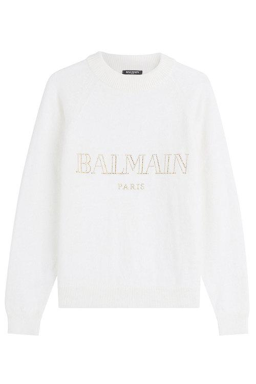 Long-Sleeve Crewneck Glitter-Logo Jersey Sweatshirt, White+Gold