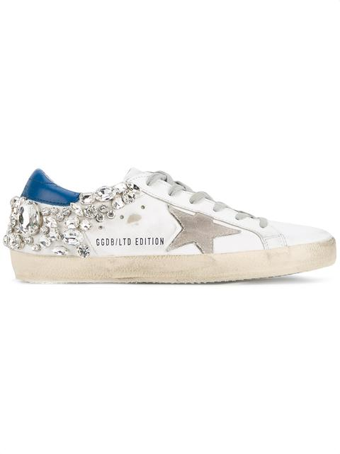 'Superstar' Strass Embellished Smudged Leather Sneakers in White