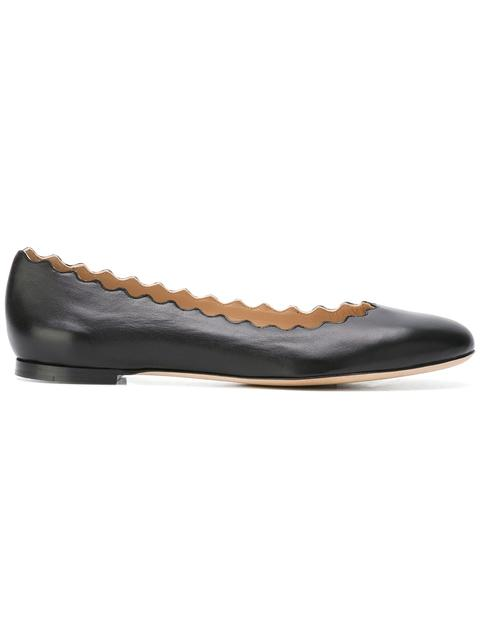 Scalloped Patent Leather Ballerina Flat in Black