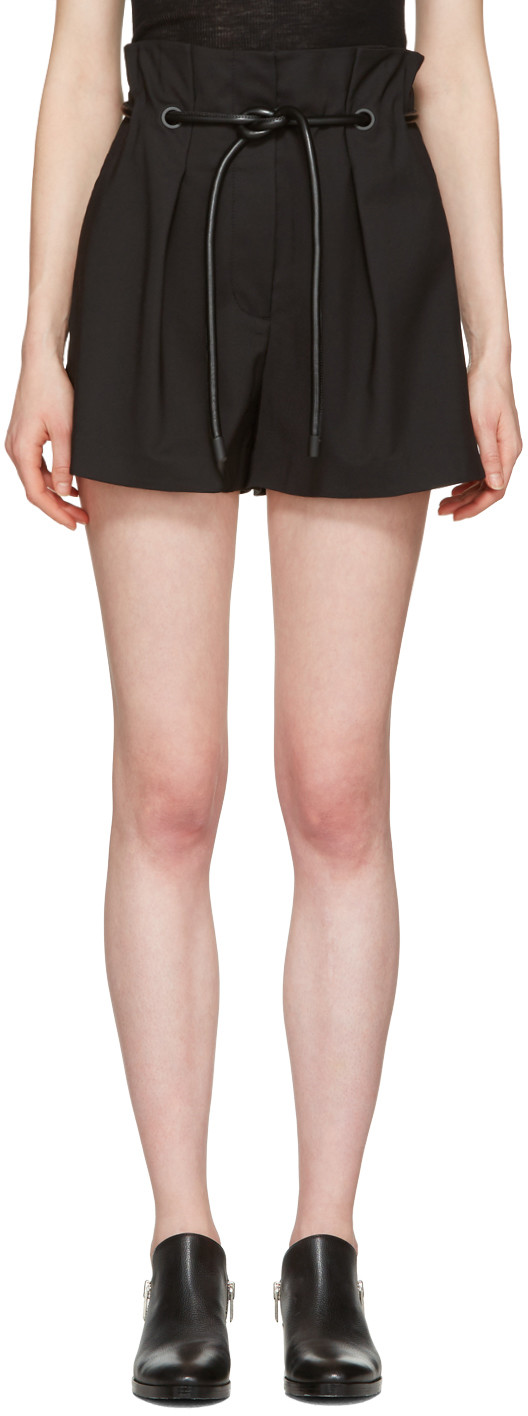 Black Tailored Pleated Shorts