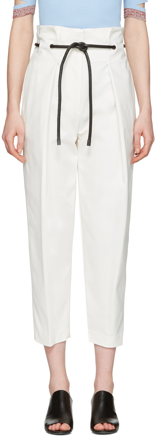 Origami Cotton-Blend Trousers, An110 Ant.White
