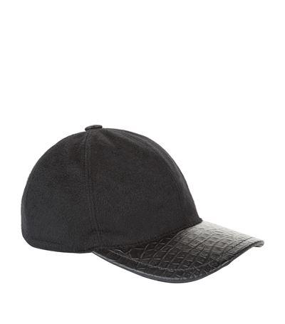 Stefano Ricci Croc Trimmed Cashmere Cap In Black  73b97d6e91a9