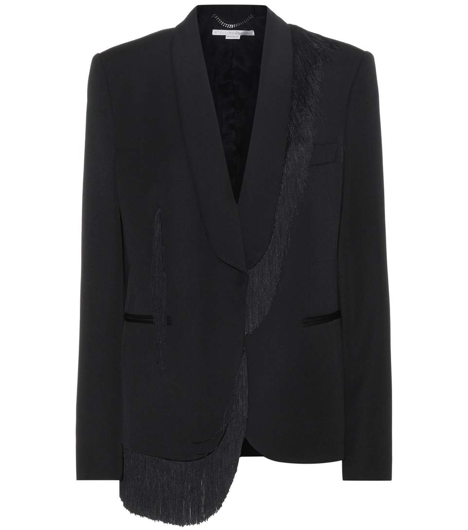Women'S Fringed Blazer Jacket In Black