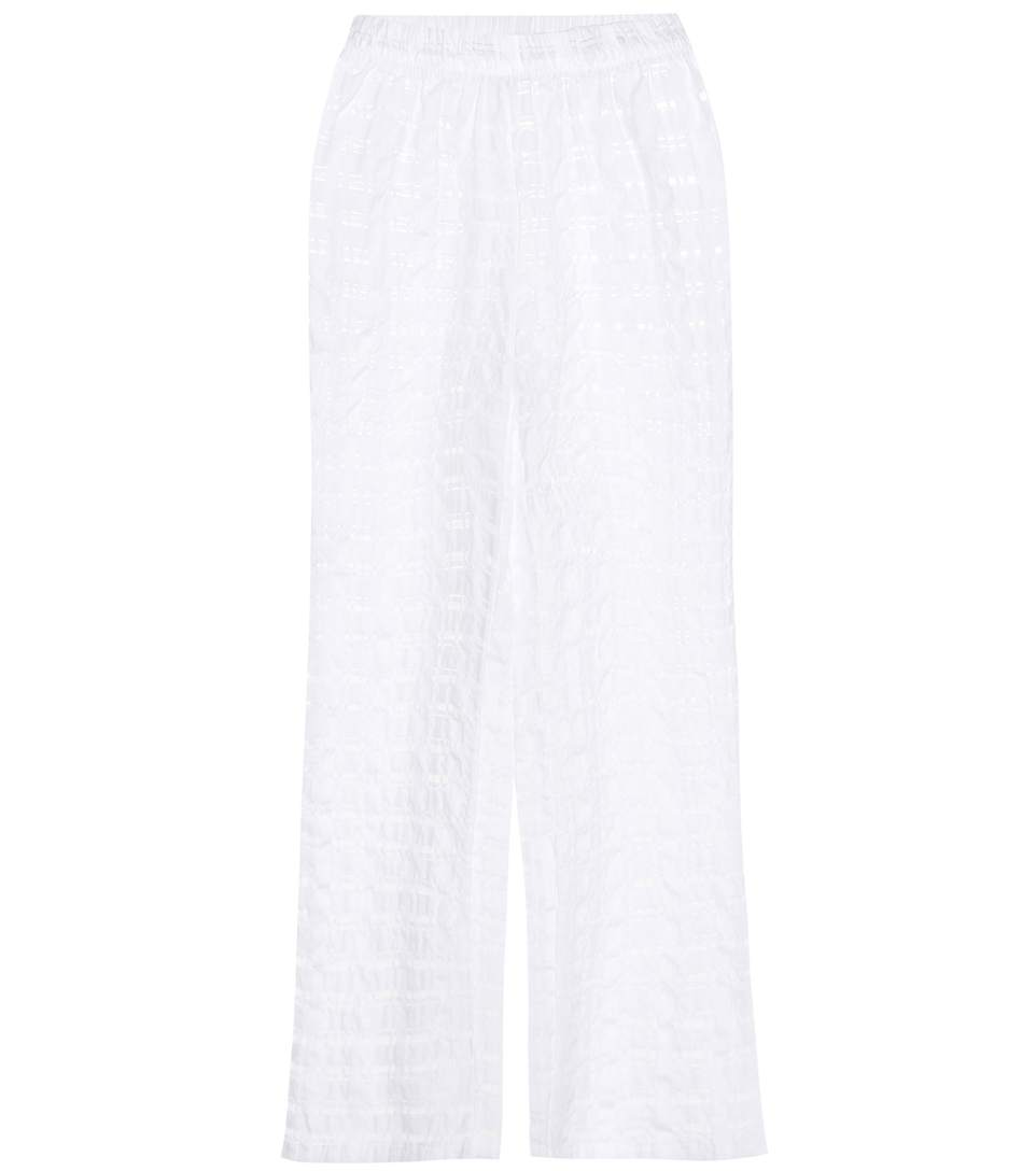 PRISM Athéns Check Organza Cotton-Blend Trousers in White
