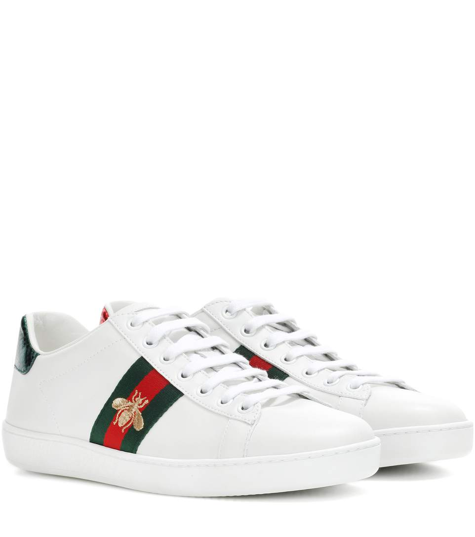 Ace Watersnake-Trimmed Embroidered Leather Sneakers, White