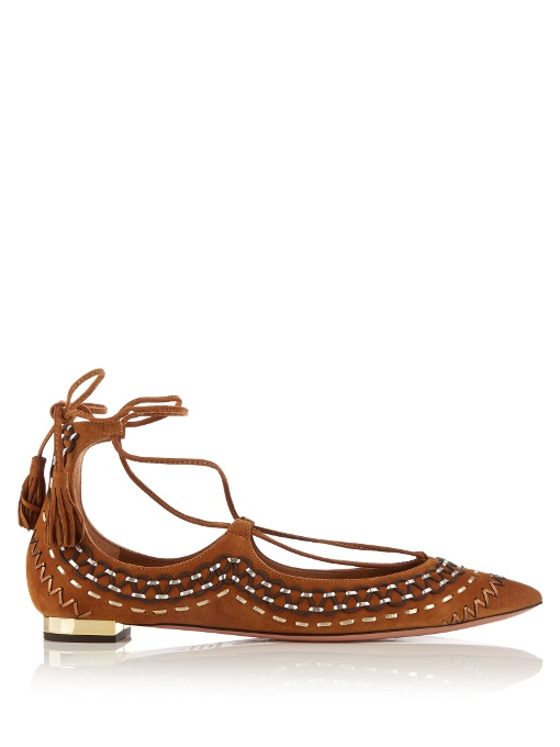 Woman Christy Folk Embroidered Suede Point Toe Flats Tan, Tan-Brown