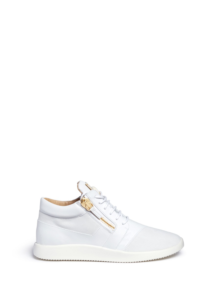 Men'S Leather & Suede Trainer Sneaker, White