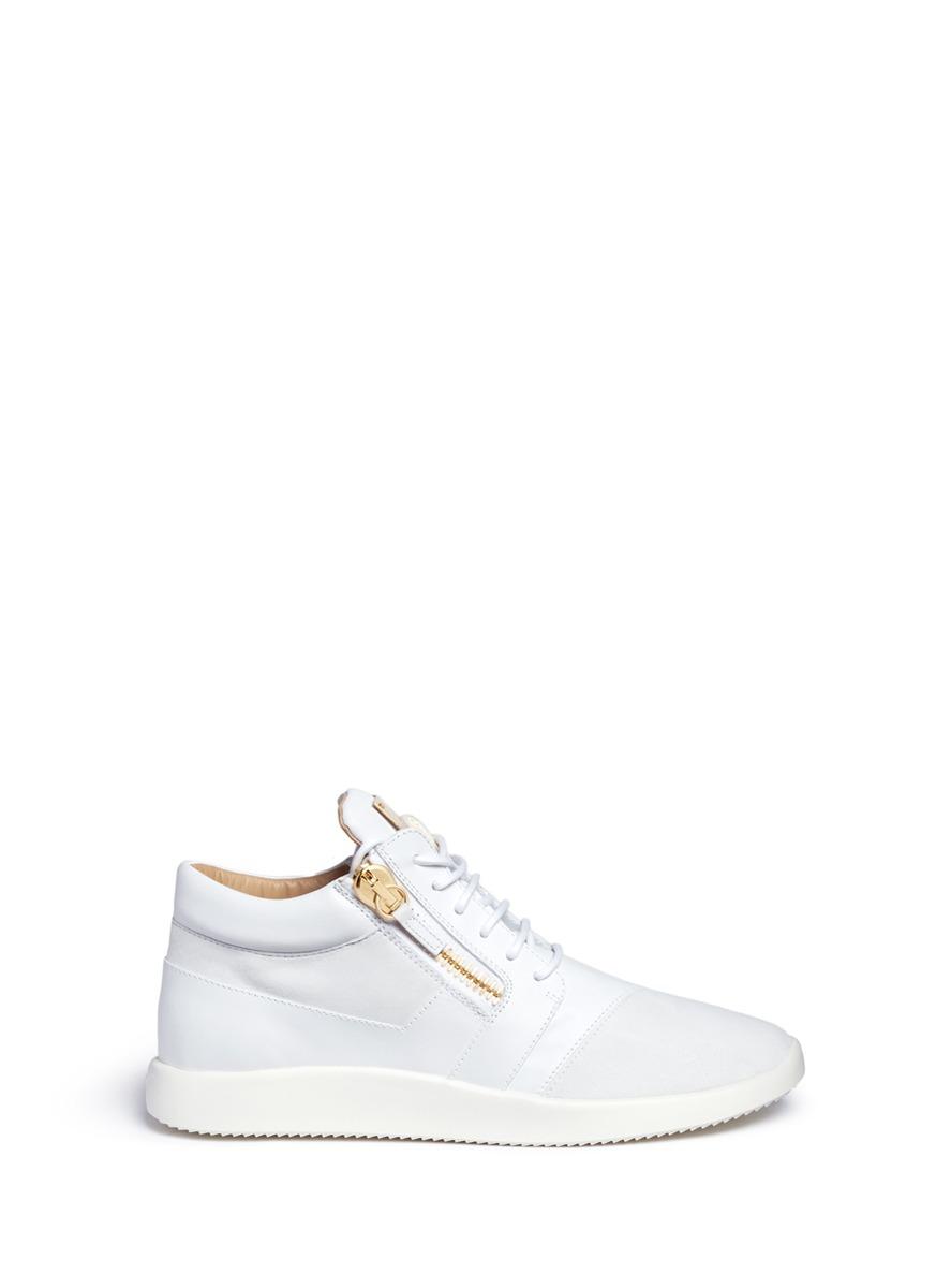 GIUSEPPE ZANOTTI Men'S Leather & Suede Trainer Sneaker, White
