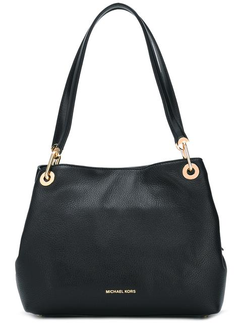 Raven Large Shoulder Tote Bag In Black Pebble Leather
