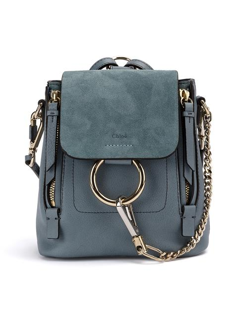 Faye Small Leather And Suede Backpack, Blue