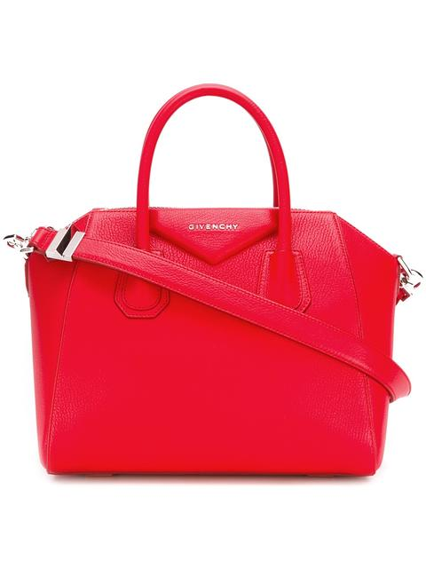 Antigona Mini Textured-Leather Tote, Red
