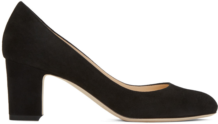 Billie 65 Black Suede Round Toe Pumps With Chunky Heel