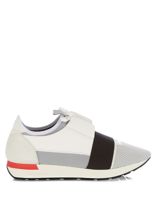 BALENCIAGA Match Leather, Textured-Suede, Neoprene And Mesh Sneakers, White